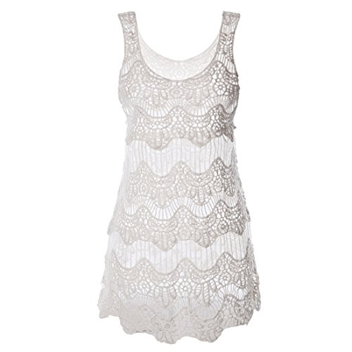 Women Summer Crochet Beachwear White - 9