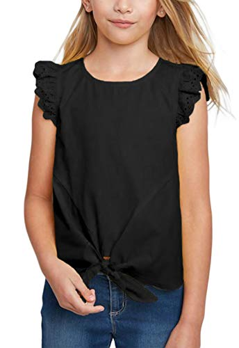 GOSOPIN Girls Casual Ruffle Cap Sleeve Tee Tie Knot Tunic Medium Black