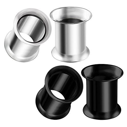 urgical Steel 0g Gauge 8mm Black Anodized Double Flared Piercing Jewelry Earring Stretcher Plug Tunnel Lobe BG0634 ()