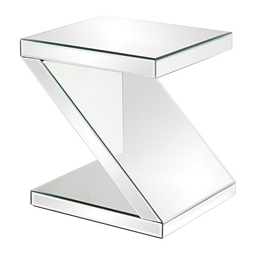 Howard Elliott 11092 Z-Shaped Mirrored End Table, 18 x 16 x 21-Inch For Sale