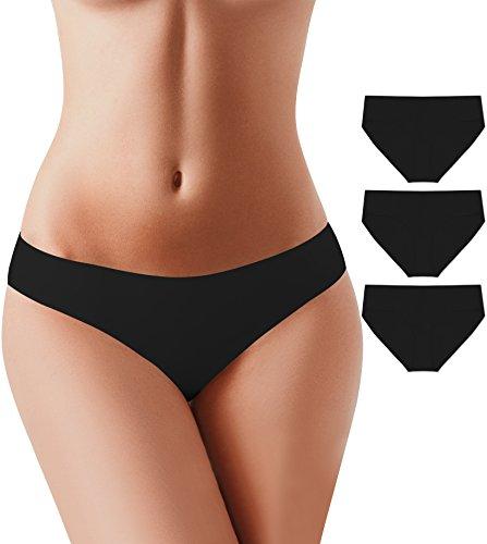 BUBBLELIME Bikini Panties for Women Nylon Spandex Breathe Panties, (Set9) 3pack Black(1), X-Small