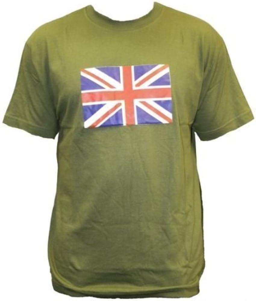Dallaswear Gran Bretaña Union Jack Bandera olímpica Camiseta Verde Verde Oliva Medium: Amazon.es: Ropa y accesorios