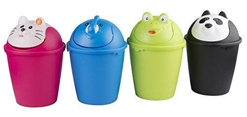 Abfalleimer Mülleimer Papierkorb Schwingdeckel 6 Liter Eimer Tiere (Frosch)