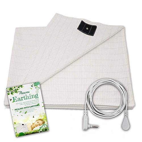 Earthing Half Sheet, Earthing Grounding Sheet/Earthing Pillow Case for Grounding, EMF Radiation Protection,Conductive Grounding Mat for Better Sleep (Earthing Sheet 35X90 inch) (Earthing Rod)