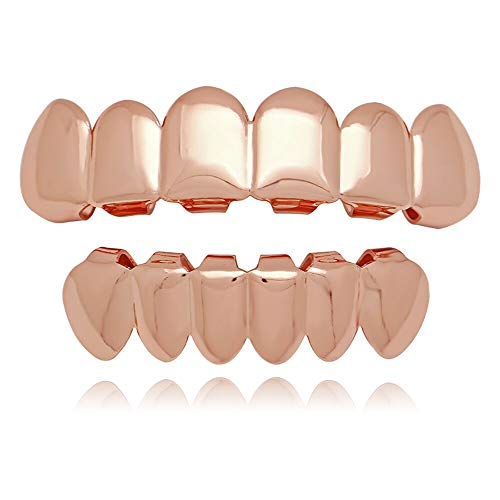 LuReen Rose Gold Plated Hip Hop Teeth Grills Caps 6 Top & Bottom Grills Set (Rose Gold)