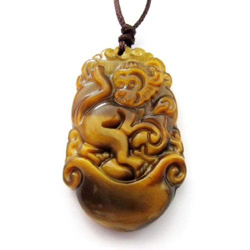 Tiger Eye Chinese Zodiac Fortune Monkey Amulet ()