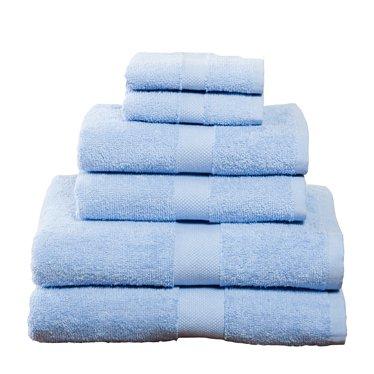 6 Piece Towel Set, Light Blue