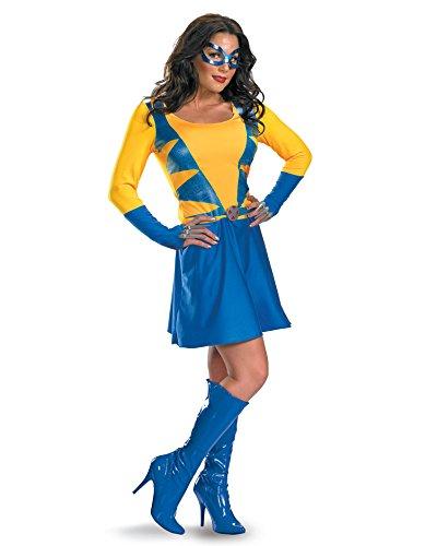 Sexy Wolverine Costumes (X-Men Movie Costume Sexy Womens Wolverine Costume Gold Blue Dress Sizes: Large)