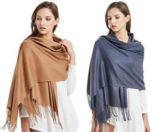 (VIVIAN & VINCENT 2 Pack of Large Extra Soft Cashmere Blend Women Pashmina Shawl Wrap Stole Scarf Khaki Deep Grey)