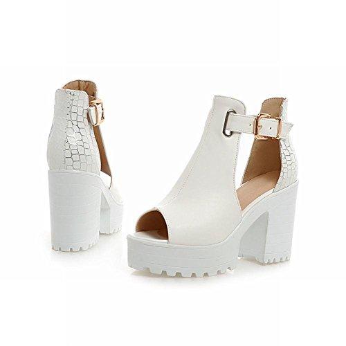 Mee Shoes Damen süß Peep toe dicker Absatz Schnalle Sandalen Weiß