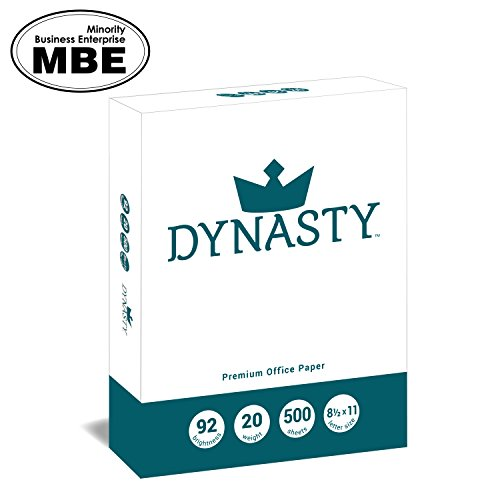 Dynasty Copy Paper, 8.5″ x 11″ 92 Bright, 500 Sheets per Ream – Diversity Manufactured Product, MBE Certified (200550R)