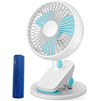 Justup® Battery Operated Clip On Fan, 5 in Mini USB Desk Table Clip fan Wall Mounted Personal Electric Cooling Fan with 360°Rotation 4 Speeds for Baby Stroller Office Home Car Outdoor (USB&Ba)