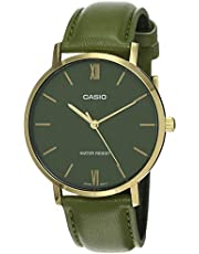 CASIO Leather Band Analog Watch for Men - Olive