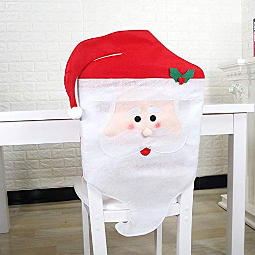 Mr & Mrs Santa Clause Christmas Kitchen Chair Covers, Chair Back Covers Kitchen Chair Covers for Christmas Holiday Festive Decor ()