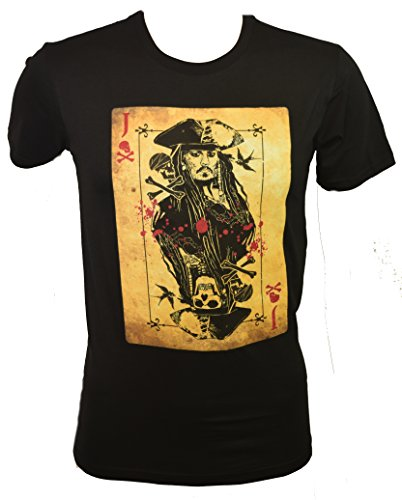 Pirates Of The Carribbean Dead Men Tell No Tales Jack Sparrow Card T-shirt (Extra Large , Black) (Pirate Apparel)