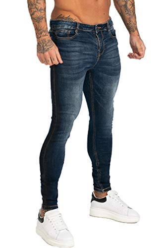 GINGTTO Slim Fit Jeans for Men Stretch Skinny Denim Jeans Designer Plain Size 28 ()