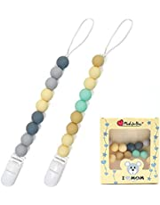 2 Pcs Silicone Pacifier Clip, Pacifier Chain Leash, Soother Pacifier Holder, Boys and Girls Soothing Pacifier Clip (Round)