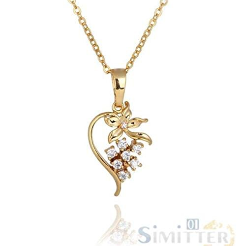 CS-DB Gold 18k Gold Plated Necklace Chain Fashion Crystal Floral Heart Chic Pendant ()