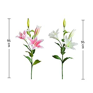 Zebery 6 Pcs Artificial Tiger Lily Latex Real Touch Flowers Fake Flower for Home and Wedding Decoration Artificial Flowers Home Hotel Wedding Party Garden Decorative Arrangement Flowers 3