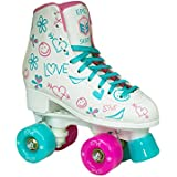 Epic Frost High-Top Indoor / Outdoor Quad Roller Skates w/ 2 pr of Laces (Pink & Blue) - Women's