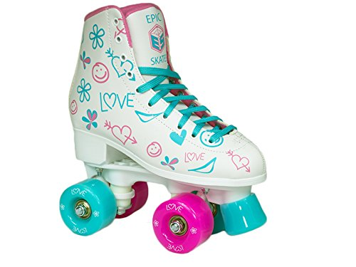 Epic Frost High-Top Indoor Outdoor Quad Roller Skates w 2 pr of Laces Pink Blue – Children s