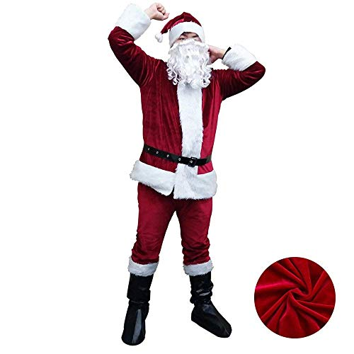 Santa Suit Adult Costume for Men Christmas Santa Claus Flannel Outfit with Gloves Beard and Hat,Nice Price to Storage for Next Year, Deep Red -