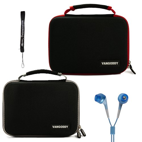 Dual Ultimate Travel Package Deal: Black Gray Case + Black Red Case (x2) Easy Travel with Maximum Protection Hard Nylon Cube Carrying Case for Coby TFDVD7752 7-Inch Portable DVD Player Dual Screen + Includes a eBigValue Determination Hand Strap Key Chain + Includes a Crystal Clear HD Noise Filter Ear buds Earphones Headphones 3.5mm Jack