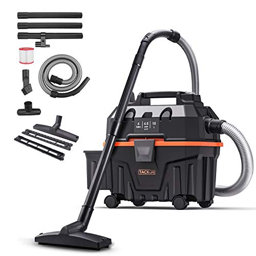 Wet and Dry Vacuum Cleaner, TACKLIFE 5 Peak Hp Wet/Dry Vac 4 Gallon, Wet Dry Blowing 3 in 1 Function, Powerful Suction, Suitable for Indoor and Outdoor - PVC01B
