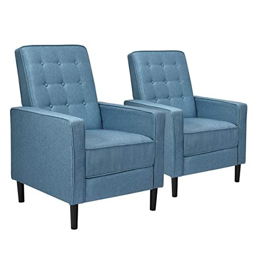 Living Room Giantex Set of 2 Push Back Recliner Chair, Modern Fabric Recliner w/Button-Tufted Back, Accent Arm Chair for Living Room… modern accent chairs