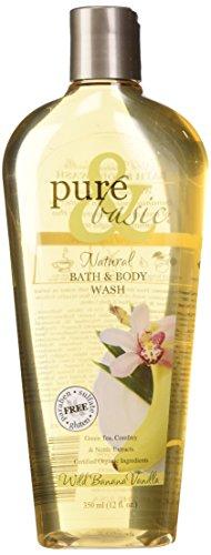 Pure and Basic Natural Bath and Body Wash, Wild Banana Vanilla, 12 Fluid Ounce