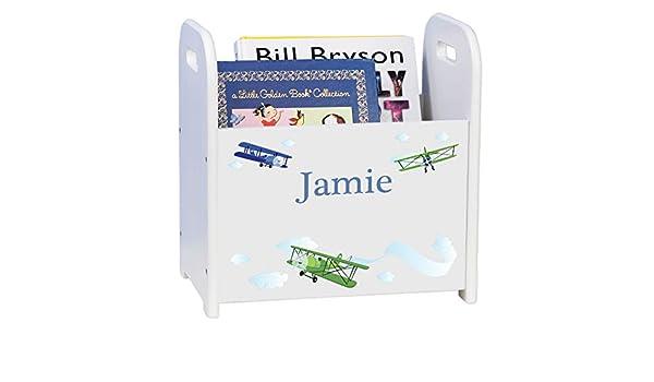 Airplane MyBambino Personalized Kidss Book Caddy Magazine Rack