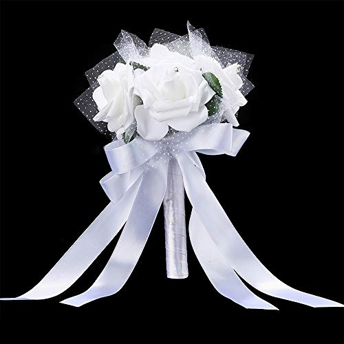 - Wedding Bride Bouquet Handmade Crystal Satin Rose Wedding Holding Bouquet Flowers Bridal Bouquets for Wedding Engagement Valentine's Day Decor Party and Church Satin Bride Bouquets 16 X 22cm (B-White)