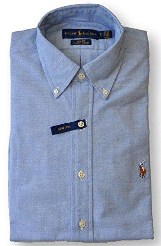 Polo Ralph Lauren Men's Stretch Oxford Slim Fit Sport Shirt, BSR Blue, (Blue Striped Oxford Shirt)