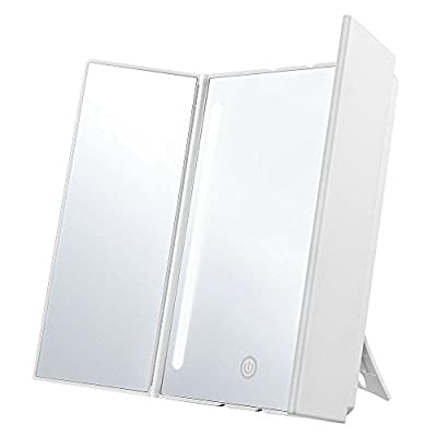 Jerrybox LED Makeup Mirror with Pull-Out Dimmable, Foldable, Kick Stand, Battery or USB Powered