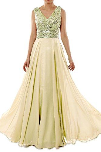 MACloth Women V Neck Sequin Chiffon Long Bridesmaid Dress Formal Evening Gown Light Gold