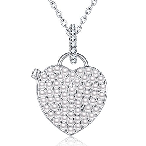 IXIQI Locket 9ct Gold Plated Heart Pearl Infinity Love Locket Necklace (White)