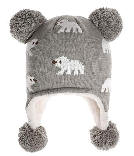 ERISO Little Girl Baby Winter Soft Fleece Hat Earflap Pink Owl (S / 1-3 Years, Gray Bunny)