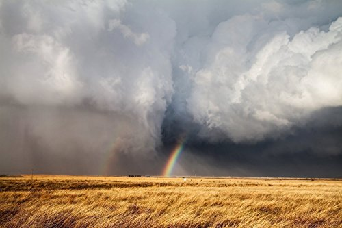 Kansas Landscape Photography Art Print - Picture of Rainbow Between Tornado And Storm Cloud Prairie Decor Artwork for Home Decoration 5x7 to 30x45