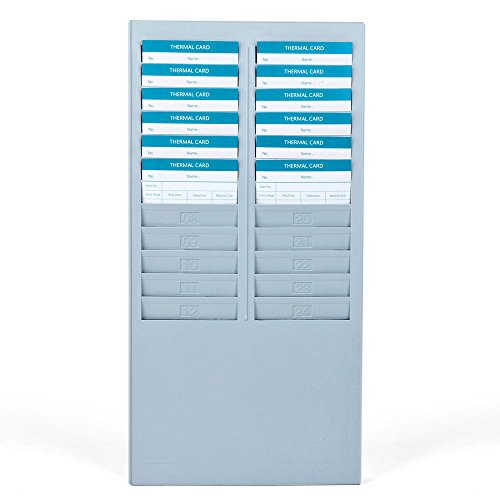 Payroll Time Recorder - Time Card Rack 24 Pocket Slots Wall Mounted Durable Holder Compatible with Attendance Time Payroll Recorder Clock for Office Storage Indoor Outdoor Use (Gray)