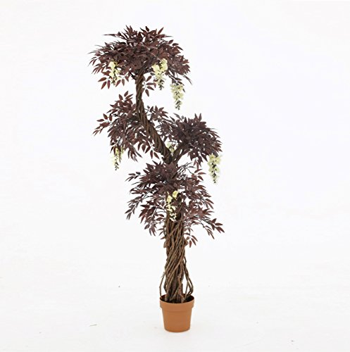 Quality Artificial Japanese Fruticosa Tree (Choose Colour Options: Green/Red/With Flowers) Replica Indoor Outdoor Office Topiary Tree Plant - 165cm Tall (Red with Flowers) by Vert Lifestyle