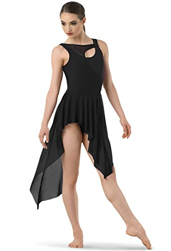 Contemporary Dance Costumes Black (Balera Dress Girls Costume For Dance Asymmetrical Mesh Dress With Attached Leotard And High Low Skirt Black Adult Small)