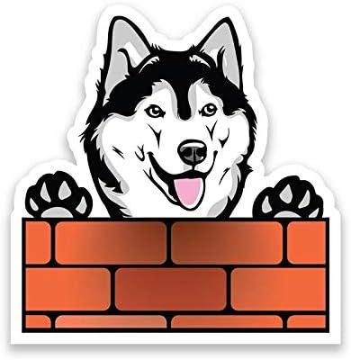 Adhesivo de vinilo para pared, diseño de perro husky siberiano mirando por encima de la pared, para coche, camión, furgoneta, SUV, ventana, portátil, ...