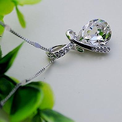 Celebrity Elements Collier avec pendentif goutte deau en cristal Swarovski id/ée cadeau pour la Saint-Valentin