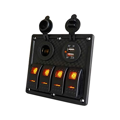 4 Gang Boat Switch Panel Waterproof - Orange LED Switches, DC 12V Charge Socket, Circuit Breaker 12/24V Universal Control Switcher, 5V 3.2A USB Charging for Phone, Use in RV Caravan Car Motor-house ()