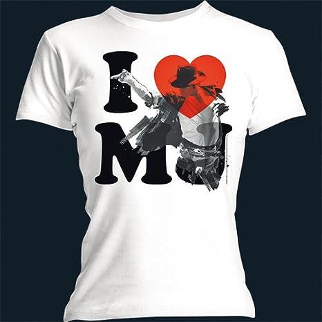 Bravado - Camiseta Mujer Michael Jackson: I Love MJ, Color Blanco, Talla L: Michael Jackson: Amazon.es: Música
