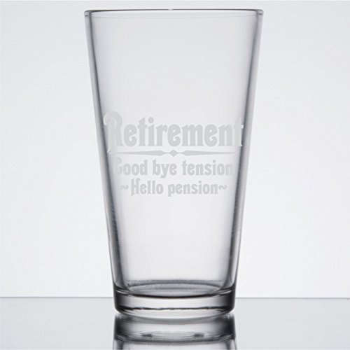 Retirement Gift Beer Glass for Men, Goodbye Tension, Hello Pension Etched 16 oz Pint Glass - PG16