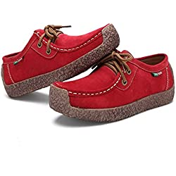 XIU XIAN Women Snail Casual Lace-up Genuine Leather Flat Sneaker Shoes (10.5, Red)