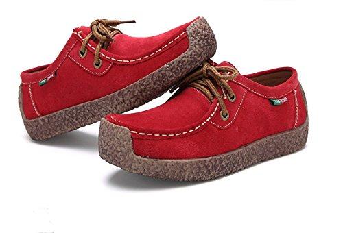 Xiuxian Xiu Xian Mujeres Caracol Ocasionales Con Cordones De Cuero Genuino Zapatillas Planas Zapatos Rojos