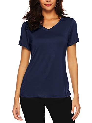 En À Top Bleu Marin V shirt Chemisiers Courtes Col D'été Blouses Amoretu Et Manches Femme T wvHFq8t