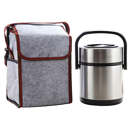 Lunch Jar Insulated Food Container with 3 Cells Leak-proof Stainless Steel Lunch Box Hand-held Bento with Cooler Tote Bag, 1.6L(0.42Gal) (Handheld Lunch Box)